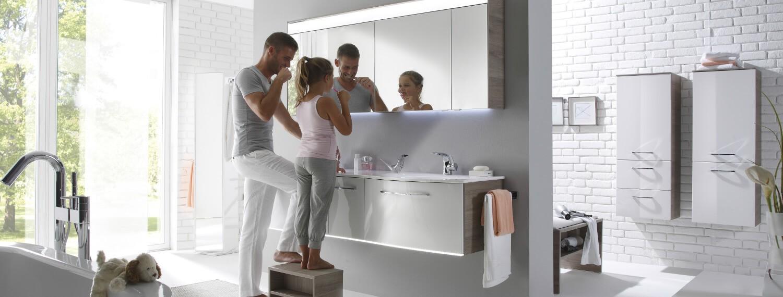 Badezimmer Möbel Grau-Hochglanz