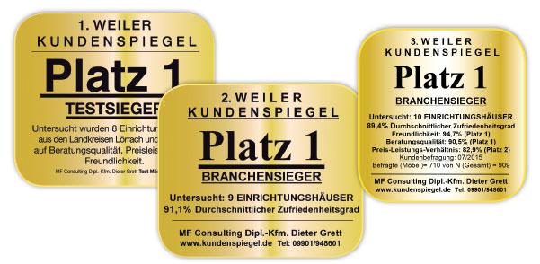 Branchensieger Wohnwelt Rheinfelden Ausgezeichneter Service