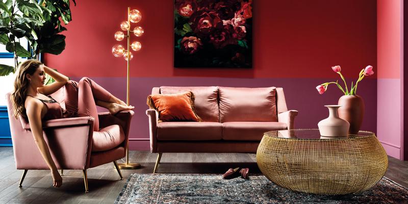 Wohnzimmer rosa
