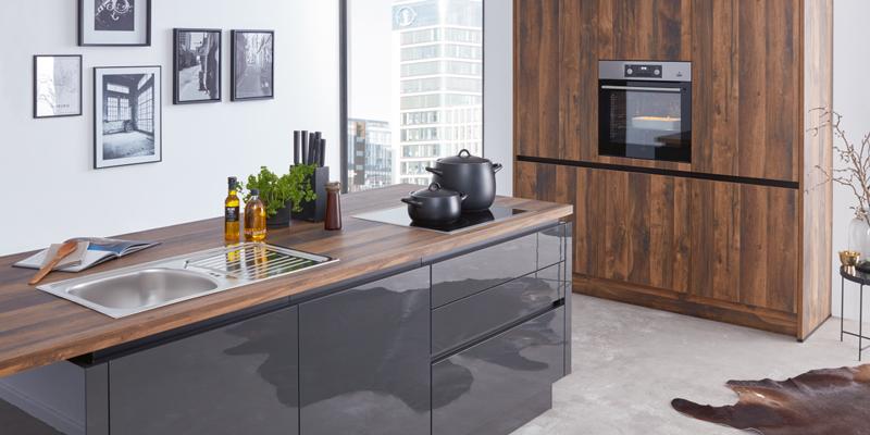 Küche Holz grau Wert