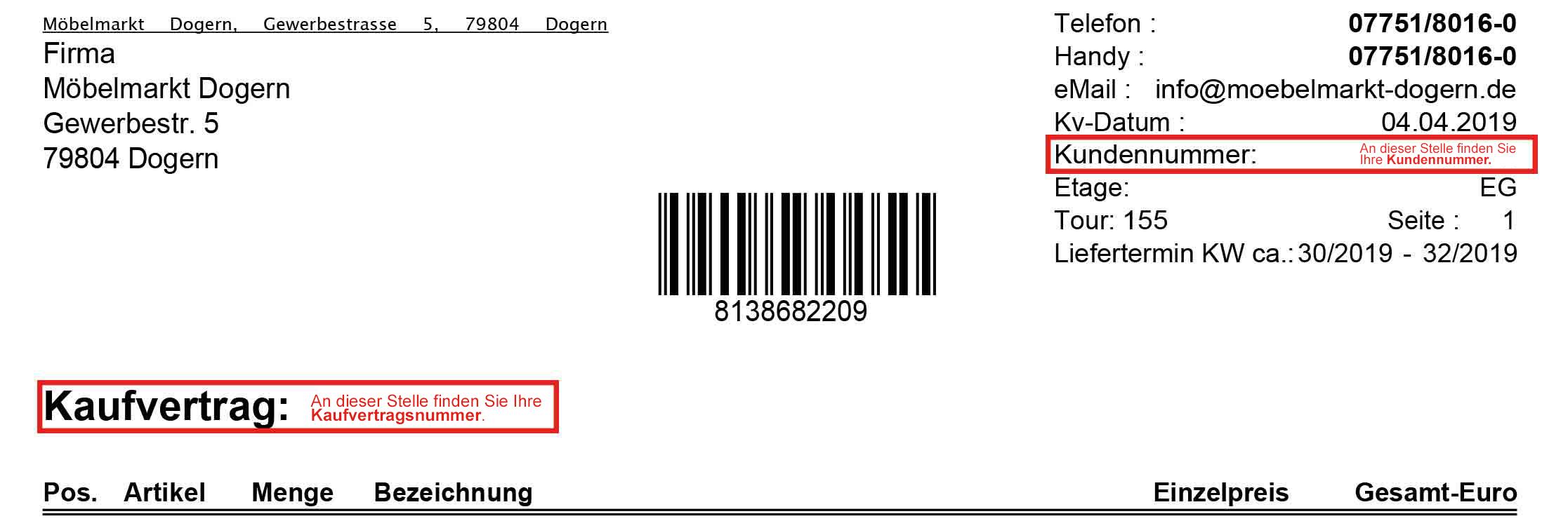 Kaufvertrag für Möbelkauf Kundennummer