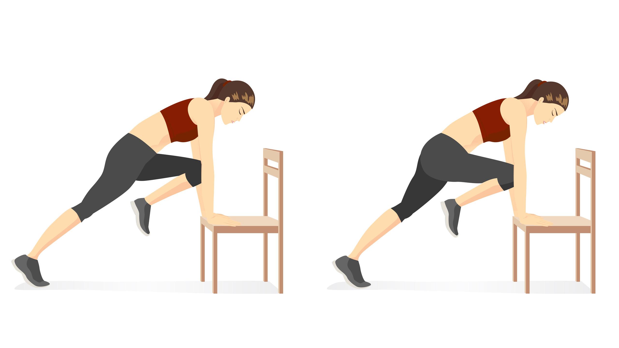 Workout mit Möbeln Frau Stuhl